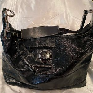 Coach Black Patent Leather Hobo Purse